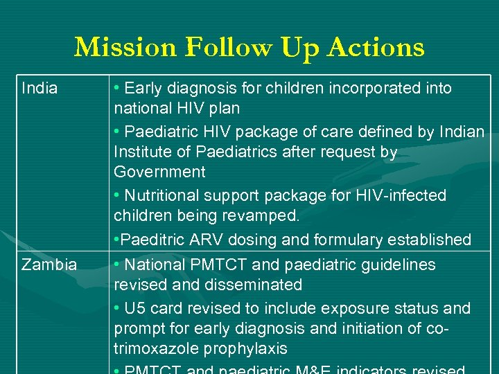 Mission Follow Up Actions India Zambia • Early diagnosis for children incorporated into national