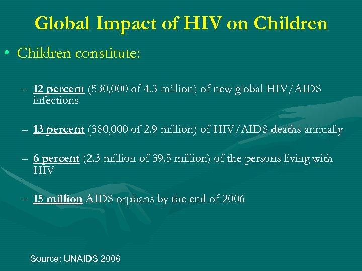 Global Impact of HIV on Children • Children constitute: – 12 percent (530, 000