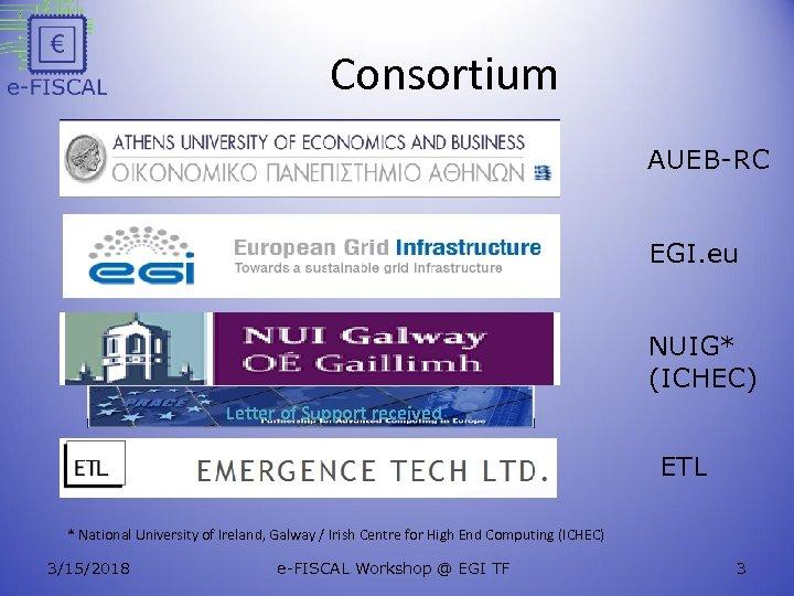 Consortium AUEB-RC EGI. eu NUIG* (ICHEC) Letter of Support received ETL * National University