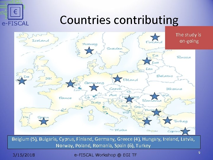 Countries contributing The study is on-going Belgium (5), Bulgaria, Cyprus, Finland, Germany, Greece (4),