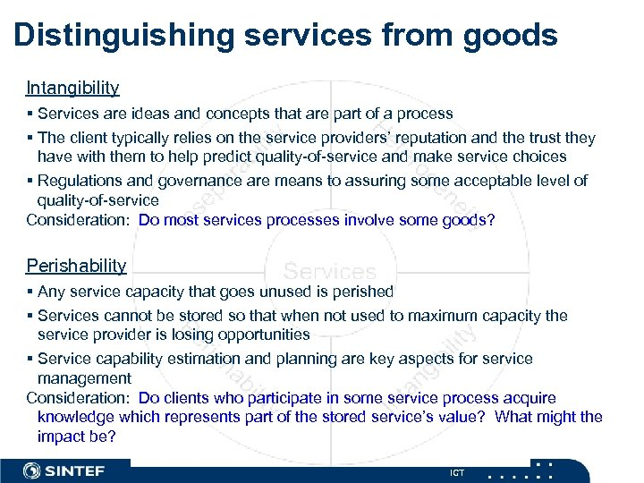 Distinguishing services from goods Intangibility § Services are ideas and concepts that are part