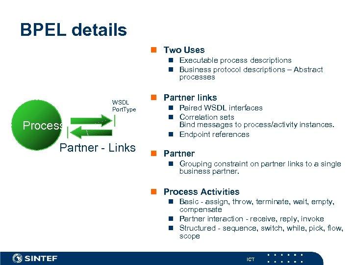 BPEL details n Two Uses n Executable process descriptions n Business protocol descriptions –