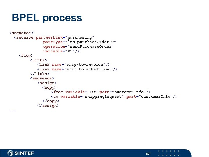 BPEL process <sequence> <receive partner. Link=
