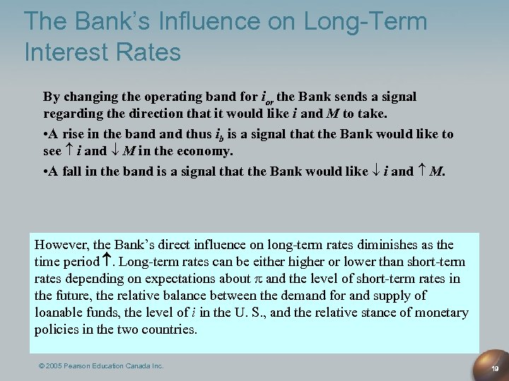 The Bank's Influence on Long-Term Interest Rates By changing the operating band for ior
