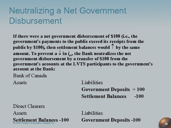 Neutralizing a Net Government Disbursement If there were a net government disbursement of $100