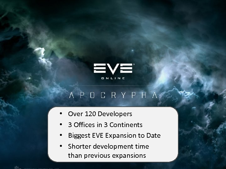 EVE Online Expansions • • Over 120 Developers 3 Offices in 3 Continents Biggest