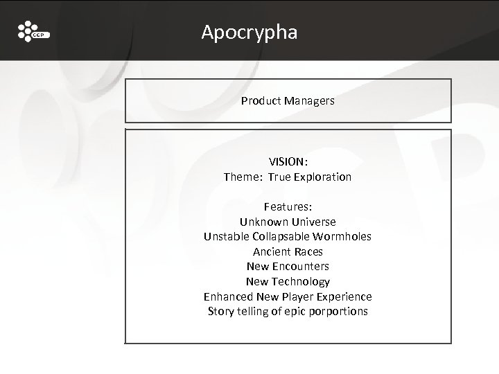 Apocrypha Product Managers VISION: Theme: True Exploration Features: Unknown Universe Unstable Collapsable Wormholes Ancient