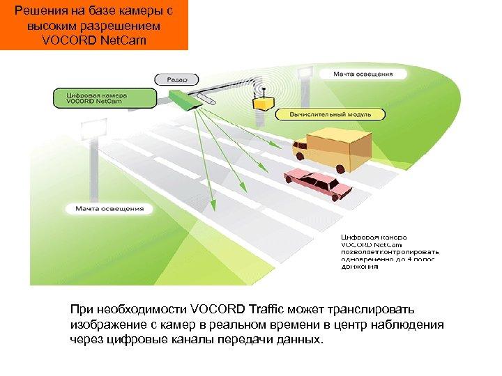 Решения на базе камеры с высоким разрешением VOCORD Net. Cam При необходимости VOCORD Traffic