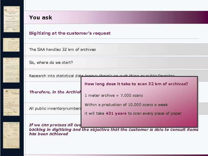 You ask Digitizing at the customer's request The SAA handles 32 km of archives