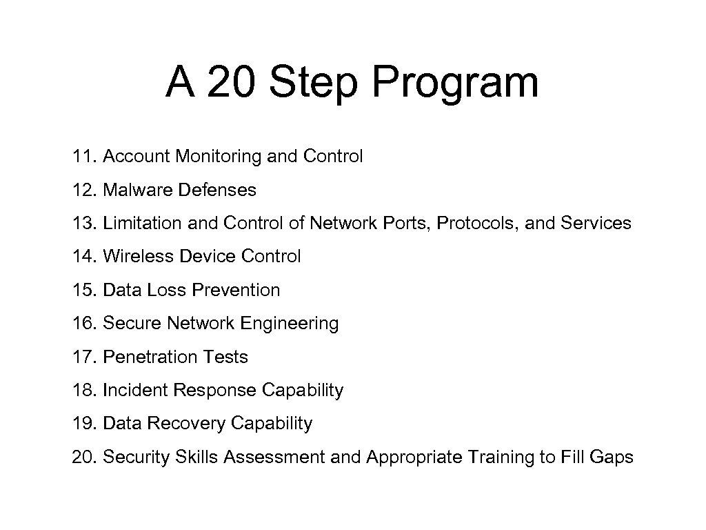 A 20 Step Program 11. Account Monitoring and Control 12. Malware Defenses 13. Limitation