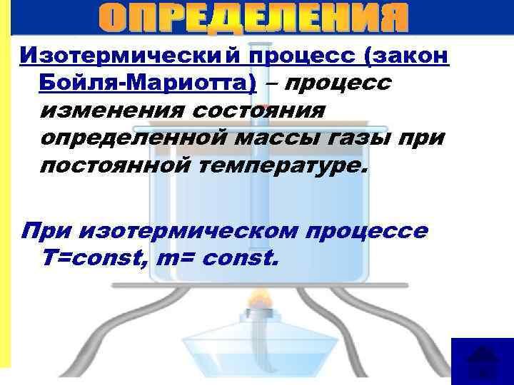 Изотермический процесс (закон Бойля-Мариотта) – процесс изменения состояния определенной массы газы при постоянной температуре.