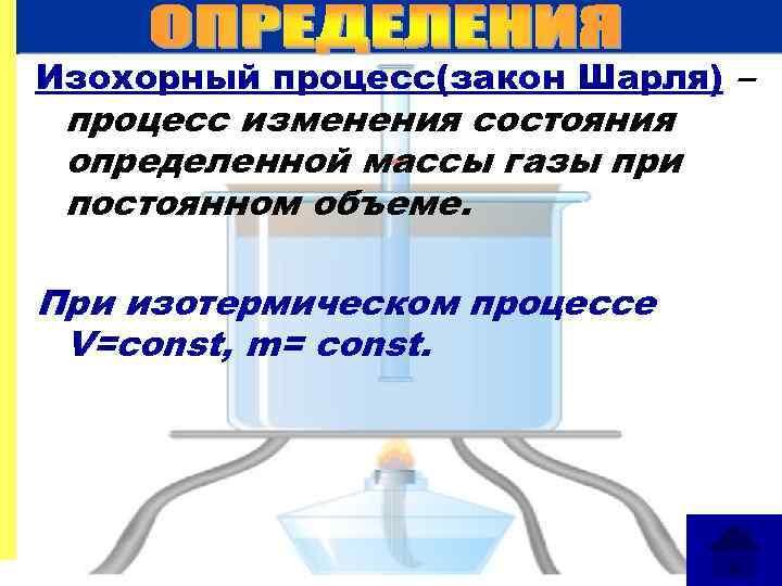 Изохорный процесс(закон Шарля) – процесс изменения состояния определенной массы газы при постоянном объеме. При