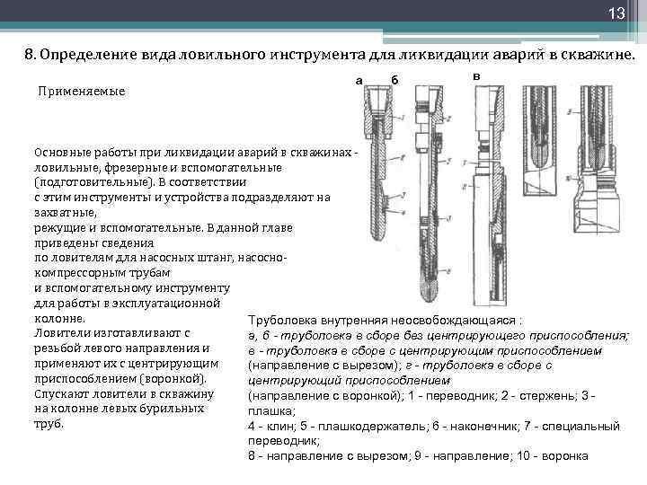 13 8. Определение вида ловильного инструмента для ликвидации аварий в скважине. Применяемые a б