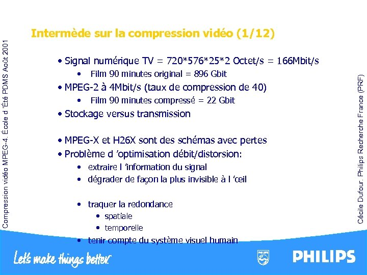 • Film 90 minutes original = 896 Gbit • MPEG-2 à 4 Mbit/s