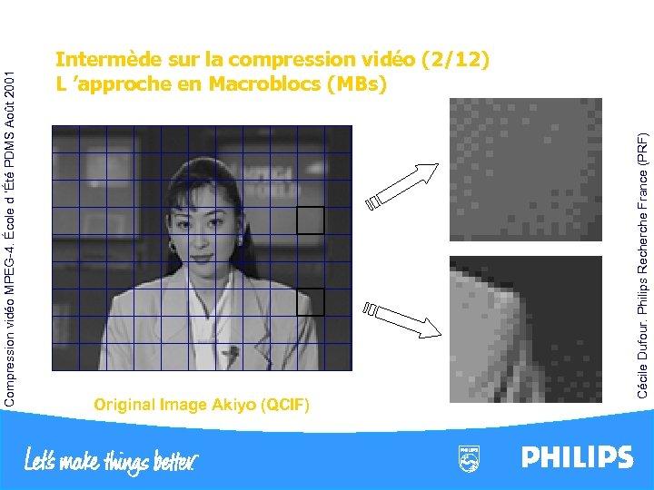 Original Image Akiyo (QCIF) Cécile Dufour. Philips Recherche France (PRF) Compression vidéo MPEG-4. École