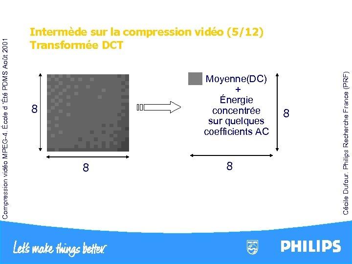 Moyenne(DC) + Énergie concentrée sur quelques coefficients AC 8 8 Cécile Dufour. Philips