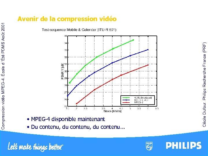• MPEG-4 disponible maintenant • Du contenu, du contenu. . . Cécile Dufour.