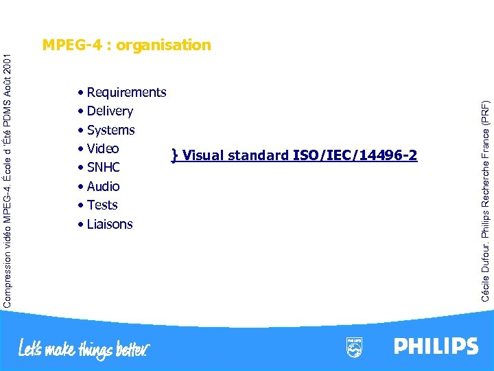 • Requirements • Delivery • Systems • Video } Visual standard ISO/IEC/14496 -2