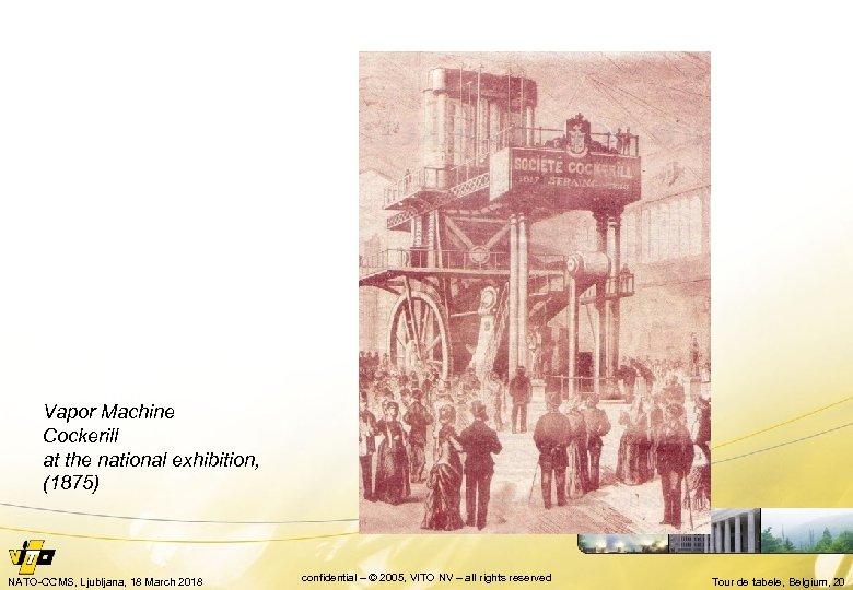 Vapor Machine Cockerill at the national exhibition, (1875) NATO-CCMS, Ljubljana, 18 March 2018 confidential