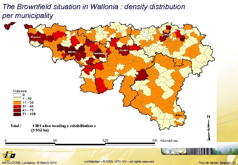 The Brownfield situation in Wallonia : density distribution per municipality Total : 1 801