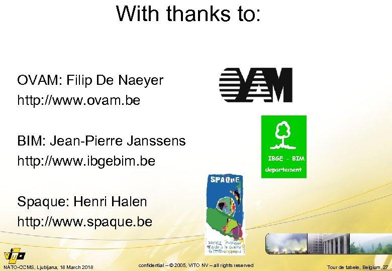With thanks to: OVAM: Filip De Naeyer http: //www. ovam. be IBGE - BIM: