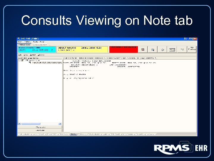 Consults Viewing on Note tab