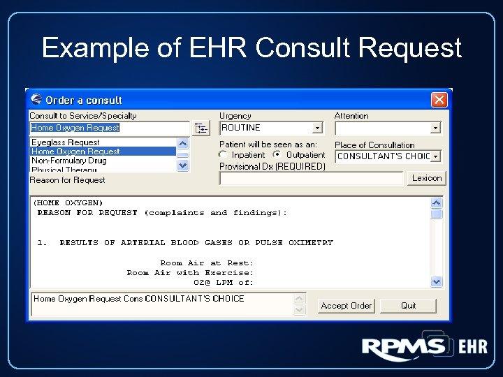 Example of EHR Consult Request
