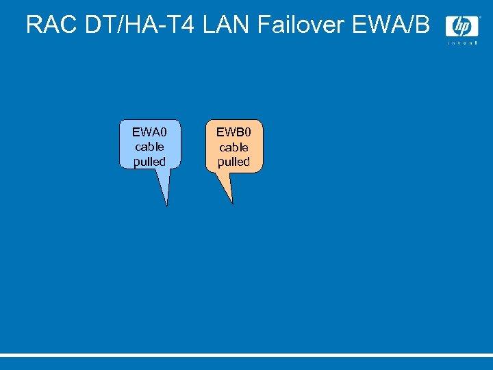 RAC DT/HA-T 4 LAN Failover EWA/B EWA 0 cable pulled EWB 0 cable pulled