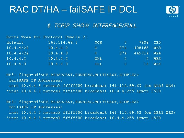 RAC DT/HA – fail. SAFE IP DCL $ TCPIP SHOW INTERFACE/FULL Route Tree for