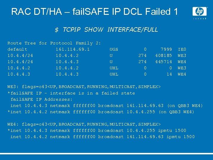 RAC DT/HA – fail. SAFE IP DCL Failed 1 $ TCPIP SHOW INTERFACE/FULL Route