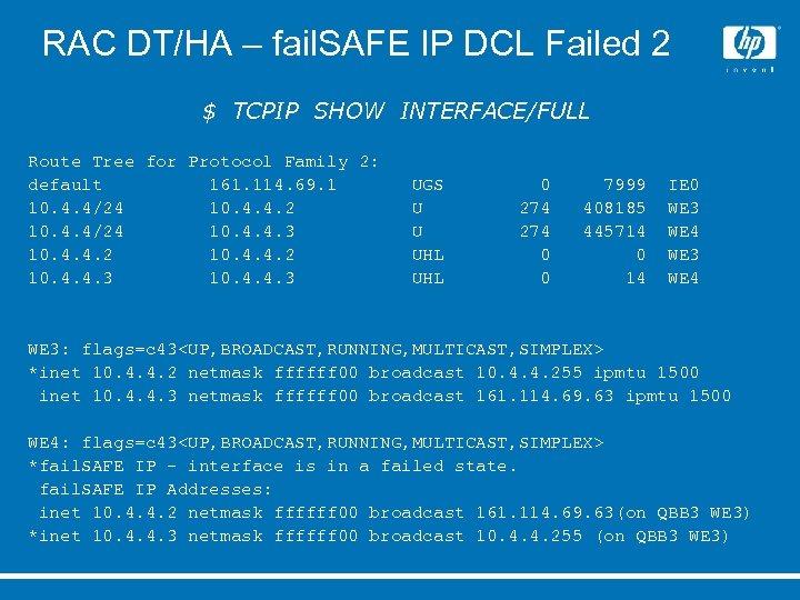 RAC DT/HA – fail. SAFE IP DCL Failed 2 $ TCPIP SHOW INTERFACE/FULL Route