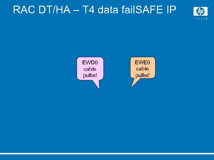 RAC DT/HA – T 4 data fail. SAFE IP EWD 0 cable pulled EWE