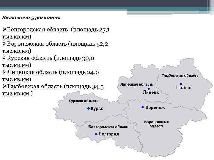 Включает 5 регионов: ØБелгородская область (площадь 27, 1 тыс. кв. км) ØВоронежская область (площадь