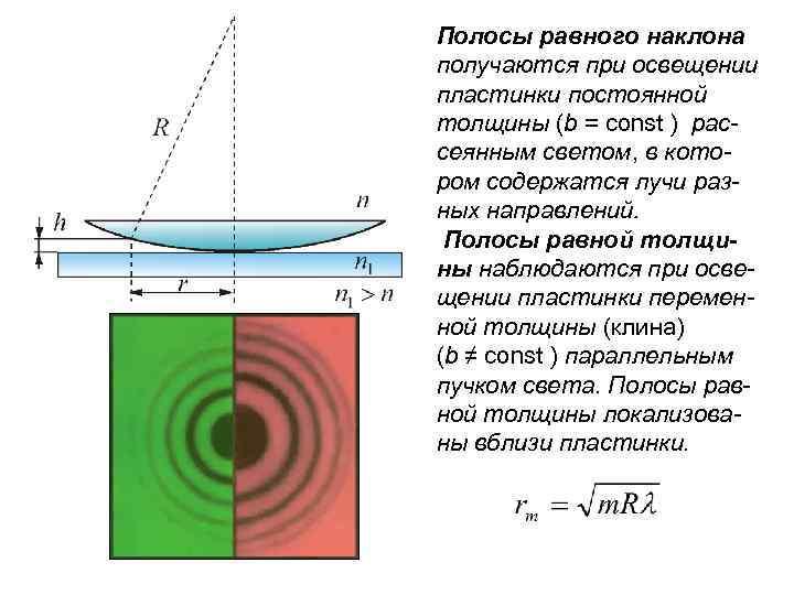 Полосы равного наклона получаются при освещении пластинки постоянной толщины (b = const ) рассеянным