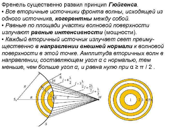 Френель существенно развил принцип Гюйгенса. • Все вторичные источники фронта волны, исходящей из одного