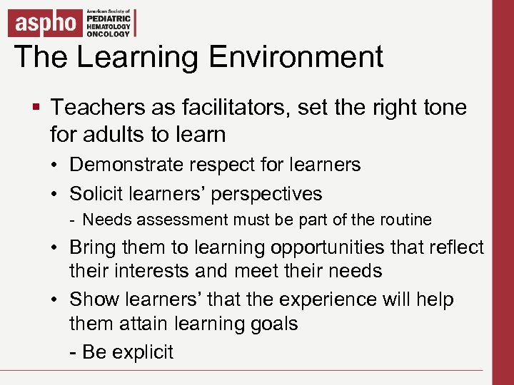 The Learning Environment Click to edit Master title style § § Teachers as. Master