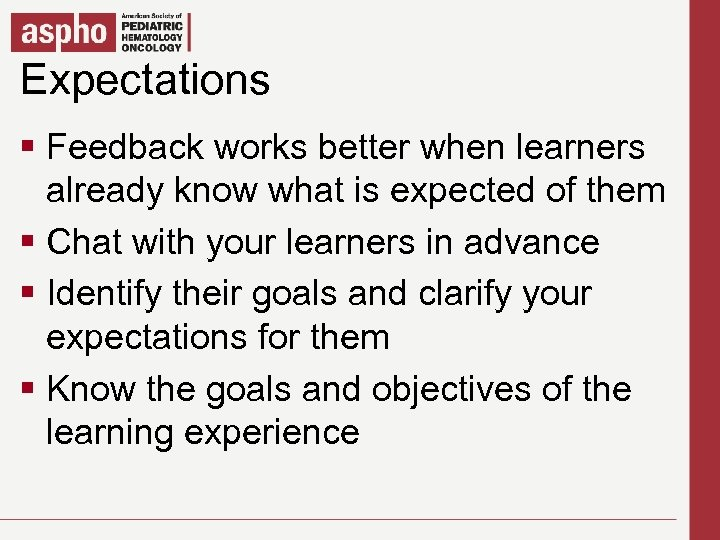 Expectations Click to edit Master title style § Click to edit Master textwhen learners
