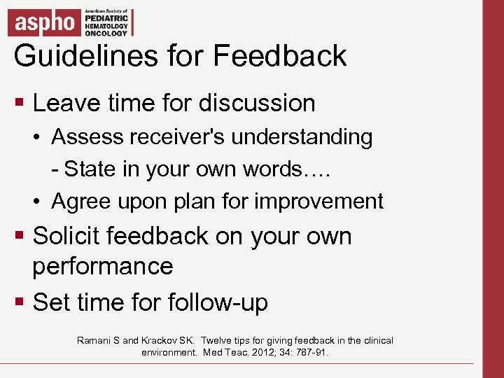 Guidelines for Feedback Click to edit Master title style § Click to editfor discussion