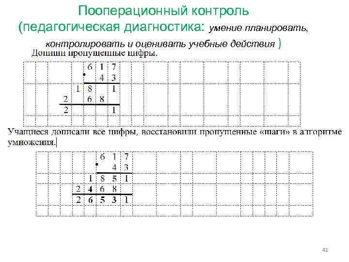 Пооперационный контроль (педагогическая диагностика: умение планировать, контролировать и оценивать учебные действия ) 41