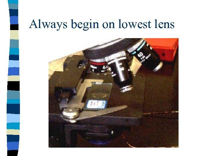 Always begin on lowest lens
