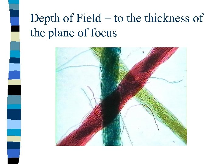 Depth of Field = to the thickness of the plane of focus