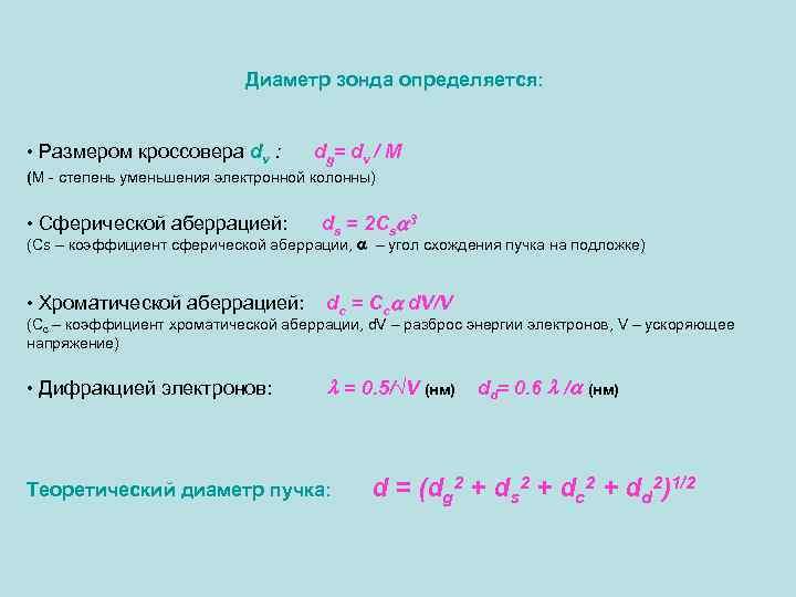 Диаметр зонда определяется: • Размером кроссовера dv : d g= d v / M