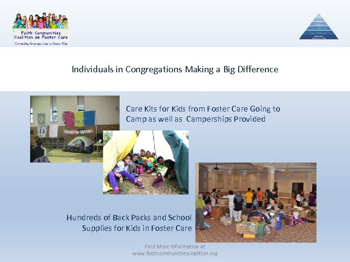 Individuals in Congregations Making a Big Difference Care Kits for Kids from Foster Care
