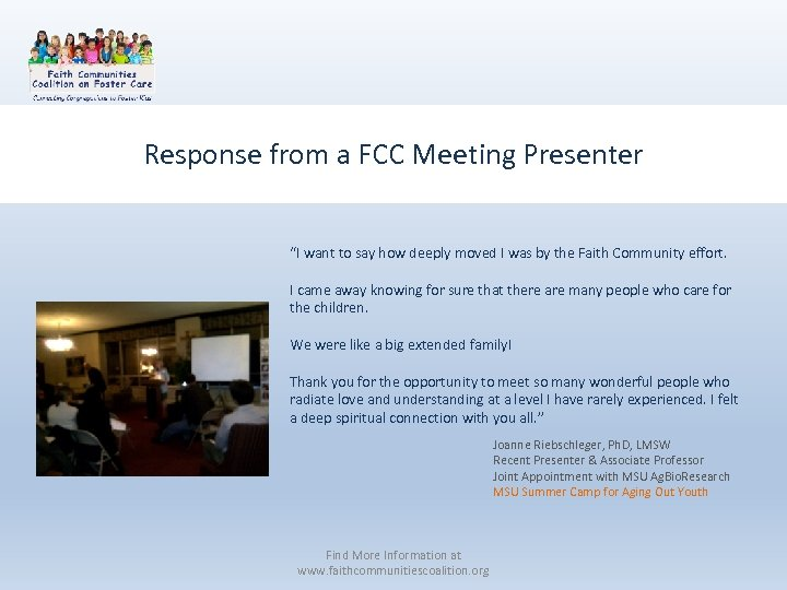 """Response from a FCC Meeting Presenter """"I want to say how deeply moved I"""