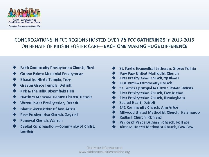 CONGREGATIONS IN FCC REGIONS HOSTED OVER 75 FCC GATHERINGS in 2013 -2015 ON BEHALF