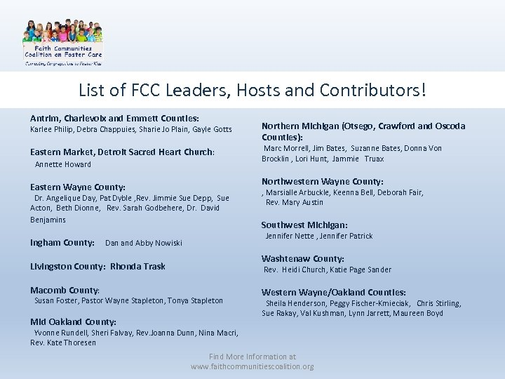List of FCC Leaders, Hosts and Contributors! Antrim, Charlevoix and Emmett Counties: Karlee Philip,