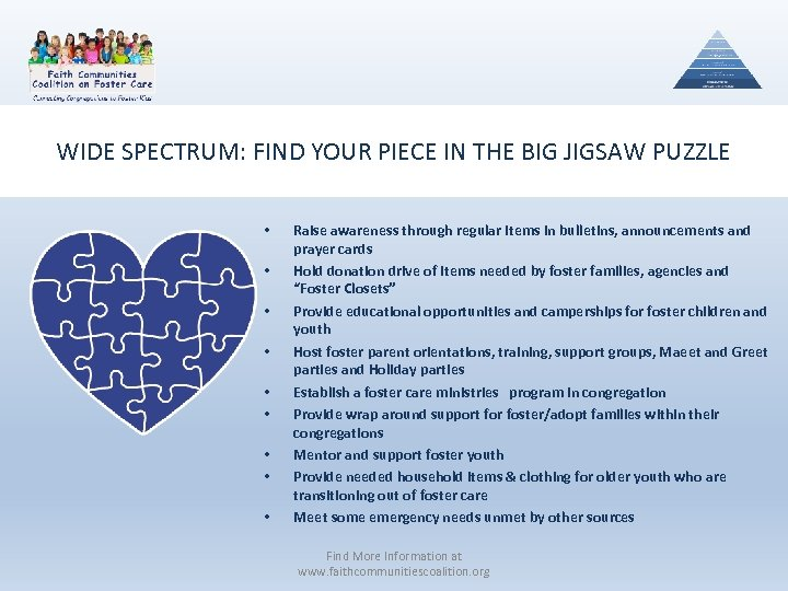 WIDE SPECTRUM: FIND YOUR PIECE IN THE BIG JIGSAW PUZZLE • • • Raise