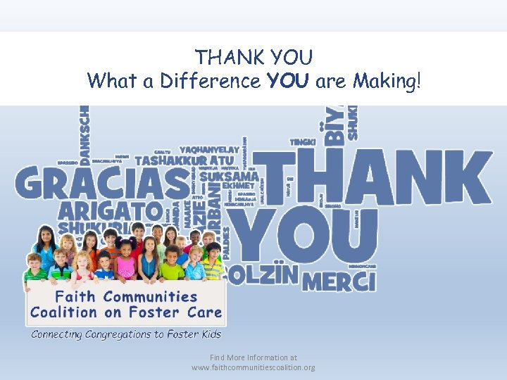 THANK YOU What a Difference YOU are Making! Find More Information at www. faithcommunitiescoalition.