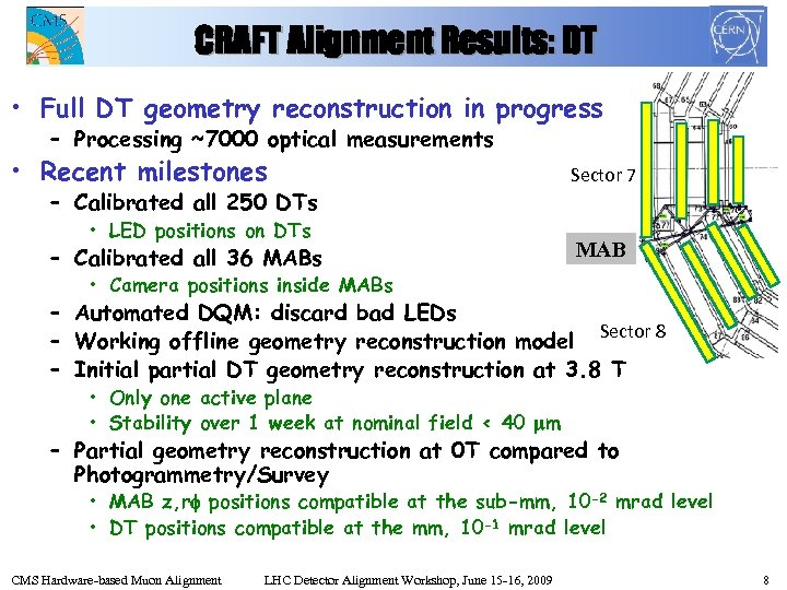CRAFT Alignment Results: DT • Full DT geometry reconstruction in progress – Processing ~7000