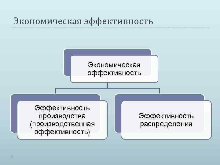 Экономическая эффективность Эффективность производства (производственная эффективность) Эффективность распределения